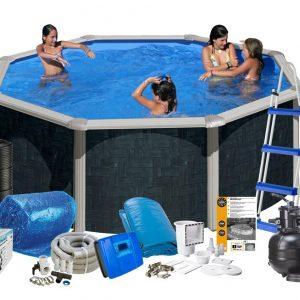 Swim & Fun Poolpaket Solar Miljö Ø460x120 Svart