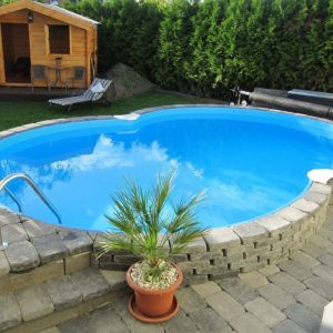 Planet Pool Stålväggspool Premium Åttaform 5,25 x 3,2 x 1,5m Carrara