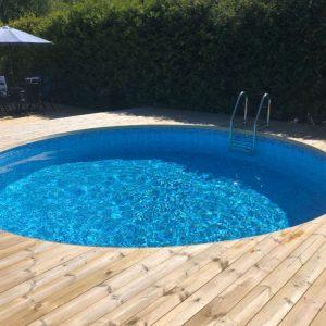 Planet Pool Stålväggspool Premium Rund 5 x 1,5m Carrara