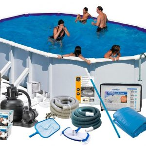 Swim & Fun Poolpaket Deluxe 610x375x132 med Sidben
