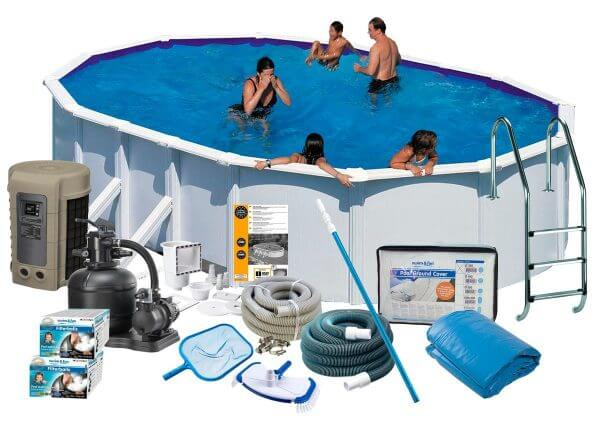 Swim & Fun Poolpaket Deluxe 730x375x132 med Sidben