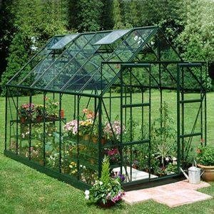 Halls Växthus Magnum 128 9,9 kvm Härdat Glas Grön