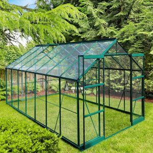 Infloria Växthus 10.3m2 Härdat Glas Grön Aluminium