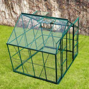 Infloria Växthus 6m2 Härdat Glas Grön Aluminium