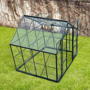 Infloria Växthus 6m2 Härdat Glas Mörk Grå Aluminium