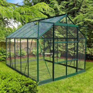 Infloria Växthus 7.4m2 Härdat Glas Grön Aluminium