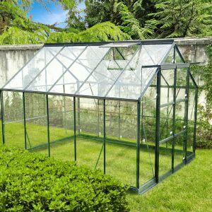 Infloria Växthus 7.4m2 Härdat Glas Mörkgrå Aluminium