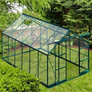 Infloria Växthus 8.9m2 Härdat Glas Grön Aluminium