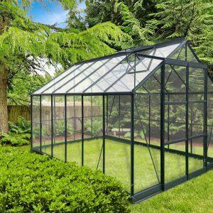 Infloria Växthus 8.9m2 Härdat Glas Mörkgrå Aluminium