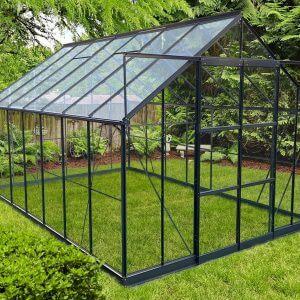 Infloria Växthus Floria 10.3m2 Härdat Glas Mörk Grå Aluminium