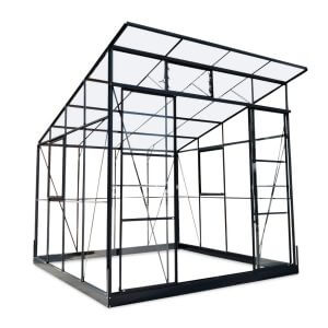 Infloria Växthus Med Snedtak 6.3m2 Med Sockel Glas Och Kanalplast